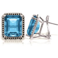 Blue Topaz Stud French Clip Halo Earrings 15.6 ctw in 9ct White Gold