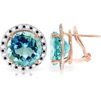 Blue Topaz Stud French Clip Halo Earrings 16 ctw in 9ct Rose Gold