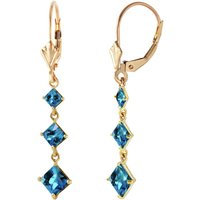 Blue Topaz Three Stone Drop Earrings 4.79 ctw in 9ct Gold - Jewellery Gifts