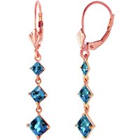 Blue Topaz Three Stone Drop Earrings 4.79 ctw in 9ct Rose Gold