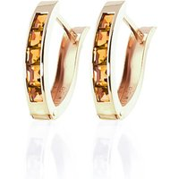 Citrine Acute Huggie Earrings 0.7 Ctw In 9ct Gold