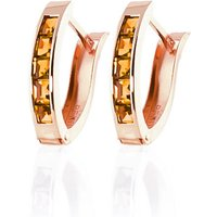 Citrine Acute Huggie Earrings 0.7 Ctw In 9ct Rose Gold