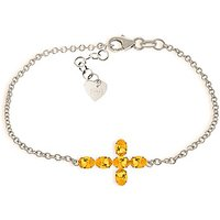 Citrine Adjustable Cross Bracelet 1.7 ctw in 9ct White Gold