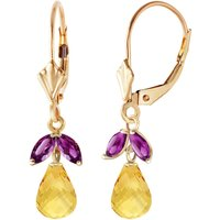 Citrine and Amethyst Snowdrop Earrings in 9ct Gold