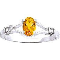 Citrine and Diamond Aspire Ring in 9ct White Gold