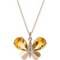 Citrine & Diamond Butterfly Pendant Necklace in 9ct Rose Gold - Fashion Gifts