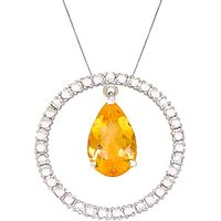 Citrine & Diamond Circle of Life Pendant Necklace in 9ct White Gold - Life Gifts