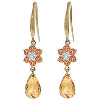 Citrine and Diamond Daisy Chain Drop Earrings in 9ct Gold