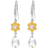 Citrine and Diamond Daisy Chain Drop Earrings in 9ct White Gold