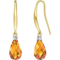 Citrine & Diamond Drop Earrings in 9ct Gold - Diamond Gifts