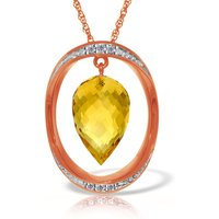 Citrine & Diamond Drop Pendant Necklace in 9ct Rose Gold - Qp Jewellers Gifts