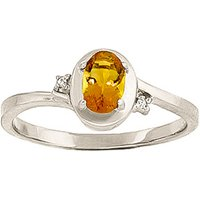 Citrine and Diamond Meridian Ring in 9ct White Gold