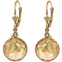 Citrine & Diamond Olive Leaf Drop Earrings in 9ct Gold - Jewellery Gifts