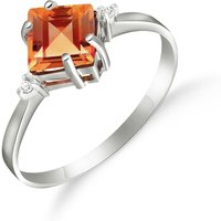 Citrine and Diamond Princess Ring in 9ct White Gold