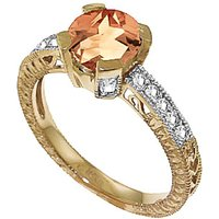 Citrine & Diamond Renaissance Ring in 9ct Gold - Fantasy Gifts