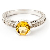 Citrine & Diamond Renaissance Ring in 9ct White Gold - Fantasy Gifts