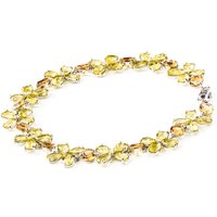 Citrine and Garnet Blossom Bracelet in 9ct White Gold