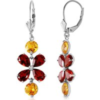 Image of Citrine & Garnet Blossom Drop Earrings in 9ct White Gold