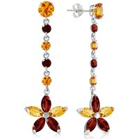 Citrine and Garnet Daisy Chain Drop Earrings in 9ct White Gold