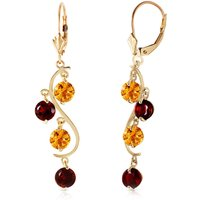 Citrine & Garnet Dream Catcher Drop Earrings in 9ct Gold - Jewellery Gifts