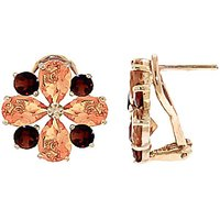 Citrine & Garnet Sunflower Stud French Clip Earrings in 9ct Gold - French Gifts