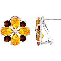Citrine & Garnet Sunflower Stud French Clip Earrings in 9ct White Gold - French Gifts
