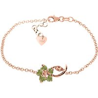 Citrine and Peridot Adjustable Flower Petal Bracelet in 9ct Rose Gold