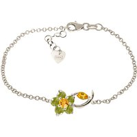 Citrine and Peridot Adjustable Flower Petal Bracelet in 9ct White Gold