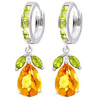 Citrine and Peridot Huggie Drop Earrings in 9ct White Gold