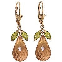 Citrine & Peridot Snowdrop Earrings in 9ct Gold - Jewellery Gifts