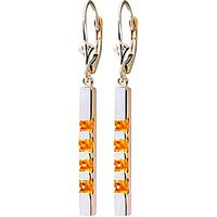 Citrine Bar Drop Earrings 0.7 Ctw In 9ct White Gold