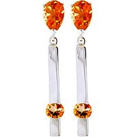 Citrine Bar Drop Earrings 4.25 Ctw In 9ct White Gold