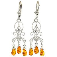 Citrine Baroque Drop Earrings 4.21 ctw in 9ct White Gold - Jewellery Gifts