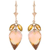 Image of Citrine Briolette Drop Earrings 20 ctw in 9ct Rose Gold
