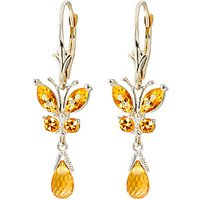Citrine Butterfly Drop Earrings 2.74 ctw in 9ct White Gold - Qp Jewellers Gifts