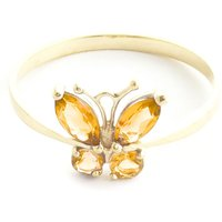 Citrine Butterfly Ring 0.6 ctw in 9ct Gold - Fashion Gifts
