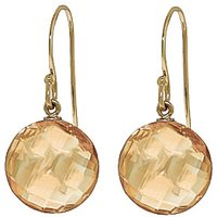 Citrine Chequer Drop Earrings 12 ctw in 9ct Gold - Jewellery Gifts