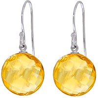 Citrine Chequer Drop Earrings 12 ctw in 9ct White Gold