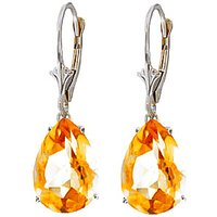 Citrine Drop Earrings 10 Ctw In 9ct White Gold