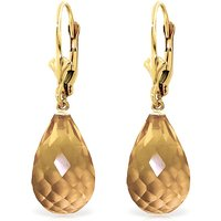 Citrine Drop Earrings 14 ctw in 9ct Gold - Jewellery Gifts