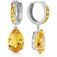 Citrine Droplet Huggie Earrings 13.2 ctw in 9ct White Gold