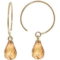 Citrine Eclipse Circle Wire Earrings 1.35 ctw in 9ct Gold - Jewellery Gifts