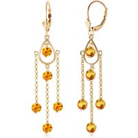 Citrine Faro Drop Earrings 3 ctw in 9ct Gold - Jewellery Gifts