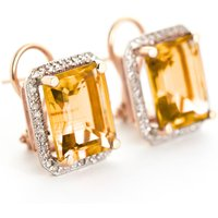 Citrine French Clip Halo Earrings 10.8 ctw in 9ct Rose Gold