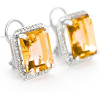 Citrine French Clip Halo Earrings 10.8 ctw in 9ct White Gold