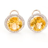 Citrine French Clip Halo Earrings 12.4 ctw in 9ct Rose Gold