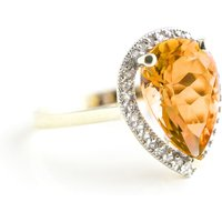 Citrine Halo Ring 3.41 ctw in 9ct Gold