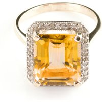 Citrine Halo Ring 5.8 ctw in 9ct Rose Gold