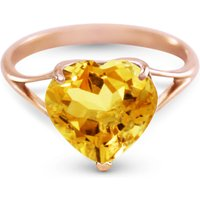 Citrine Large Heart Ring 3.1 ct in 9ct Rose Gold