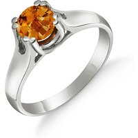 Citrine Solitaire Ring 1.1 ct in 9ct White Gold